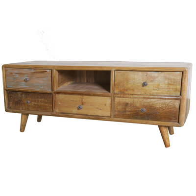 Vintage TV Dressoir 5 lades en open vak