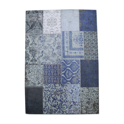 Carpet Patchwork 170x240 cm - dark blue