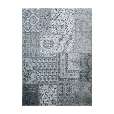 Carpet Patchwork 170x240 cm - grey