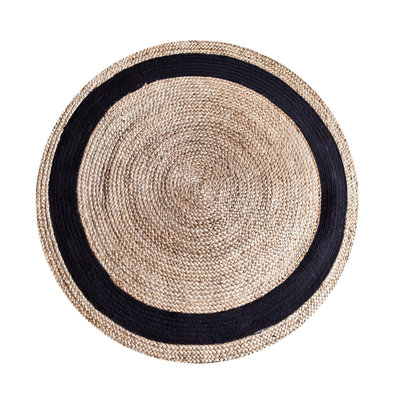 Carpet Jute round 120 cm - natural/black