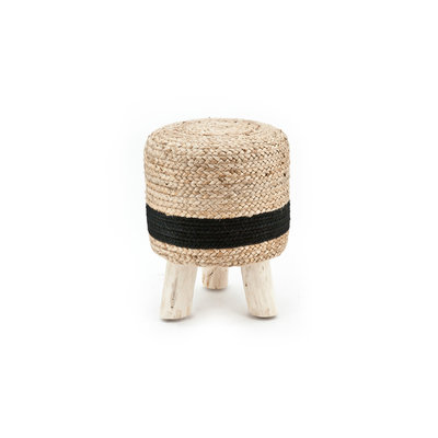 Stool Jute 33x33 cm - natural black