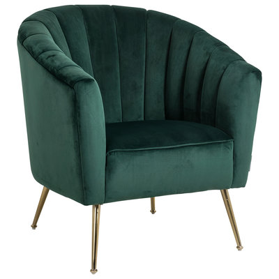 Fauteuil Shelly Green velvet / gold